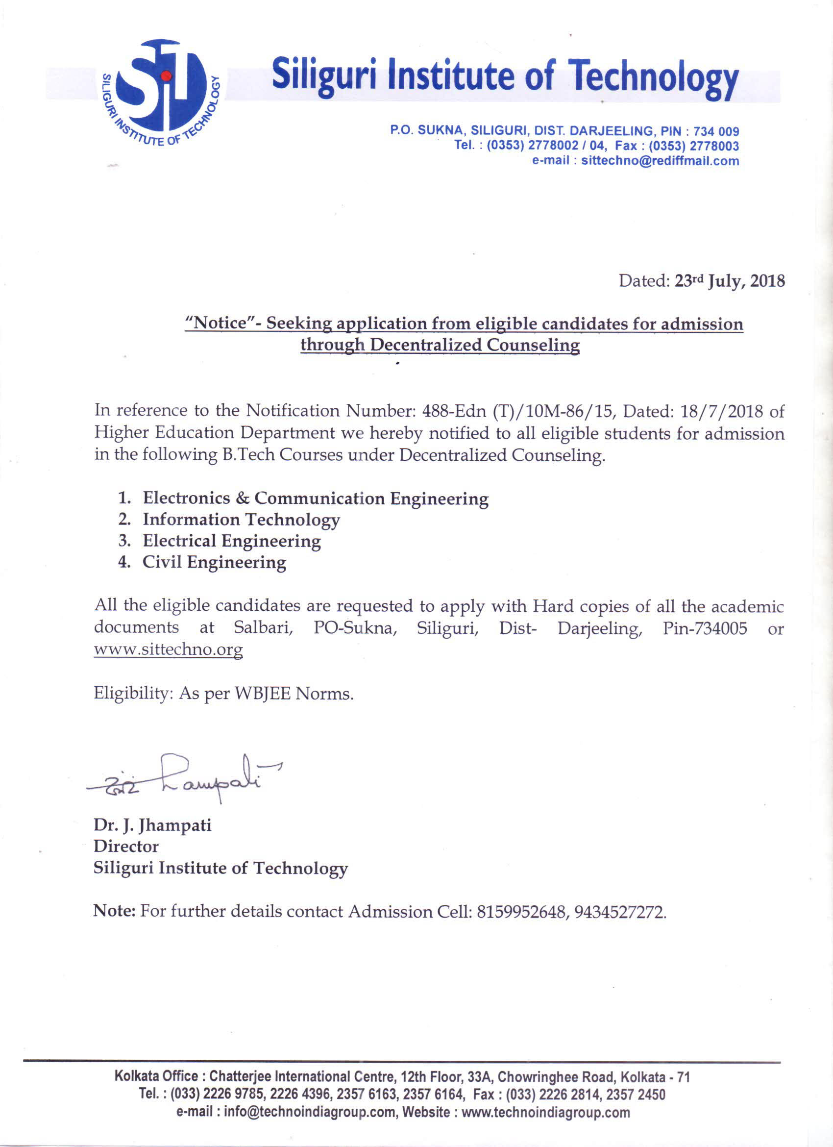 Notice- Seeking application from eligible candidates for admission through Decentralized Councelling